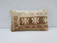 Handmade Turkish Carpet Cushion 12'' X 20'',  Antique Oushak Lumbar Pillow Cover