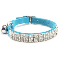 S40 Collar Cat Baby Puppies Dog Safety Elastic Adjustable with Diamond Rhineston