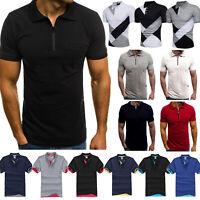 Herren Freizeit Slim Fit T-shirts Polohemd Kurzarm Blusen Golf Sport Sommer Tops