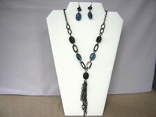 Fashion Necklace of  Blue Lucite, and Black Chain, 24 and matching earrings