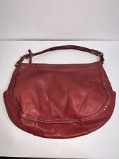 Fossil Shoulder Bag Red Leather Slouch Zip Top FLAW