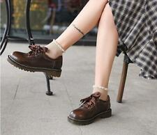Womens Leather Lace Up Collegiate Brogue Oxford Retro British Spring Shoes Hot
