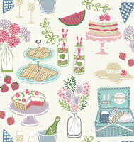 PICNIC ON WHITE BY LEWIS & IRENE - COTTON FABRIC FQ'S