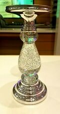 ONE Bath And Body Works SILVER SWIRLING GLITTER PEDESTAL 3-Wick Candle Holder