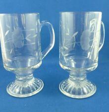 "2 x Vintage Princess House ""Heritage"" Crystal Pedestal Coffee Mugs"
