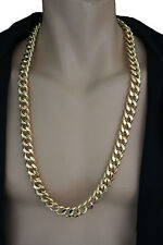 Men Fashion Necklace Gold Metal Chunky Chains Square Thick Links Hip Hop Jewelry