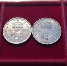 More details for two rare key date queen elizabeth ii english 1958 & scottish 1959 shillings