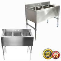 New Three 3 Compartment Stainless Steel Commercial Kitchen Sink