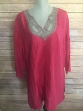 Escada Sport LONG Tunic Crinkled Silk Blouse Top Hot Pink Moroccan Kiss Size 46