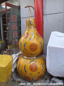 "70""Chinese Feng Shui 100% Pure Bronze cloisonne Bat palace calabash gourd Vase"