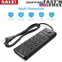 Surge Protector Power Strip 8 Outlet Desk Power Station 2 USB Ports 600 Joules