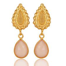 Women's Brass Fashion Dangle Earrings 14K Gold Plated Gemstone Jewelry