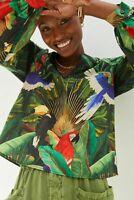 New Anthropologie Farm Rio Adriana Blouse Thea Tropical Birds XS $138 NWT Last1!