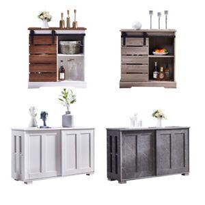 Storage Cabinet with Sliding Door Barn Door Sideboard Cupboards for Kitchen Room