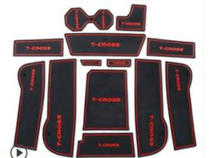 VW T-CROSS INTERIOR DASHBOARD MAT GATE PAD WITH LOGO TRIM SET - RED ONLY
