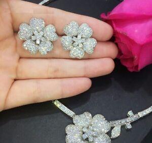 Women Flower Chokers Necklace Earring Sets Bridal Cubic Zircon Wedding Jewelry