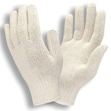 12 PAIR 1 DOZEN NATURAL WHITE STRING KNIT POLY COTTON WORK GLOVES SMALL S NEW