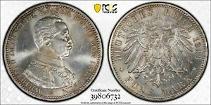 1913-A Prussia 5 Mark PCGS MS63