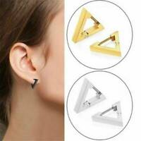 Gothic Geometric Triangle Earrings Stud Leverback 925 Silver Men Women Jewelry
