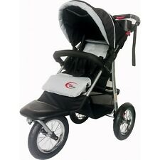 New MAMAKIDDIES 3 Wheel Grey / White Pram Buggy Pushchair Jogger Stroller