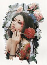 Einmal Tattoo Fake Tattoo Sexy China Girl Geisha HOT Cool 17,5x12,5cm  (A027)