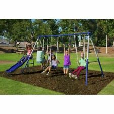 Sportspower Arcadia Metal Swing Set with Wavy Slide, Trapeze and Flying Glider
