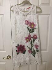 101 IDEES Flower Appliqué Crochet Dress, France Design, Size S/M
