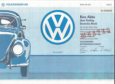 Stk Volkswagen Ag Automobile.1991 Not a stock certificate. Handout from company