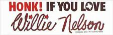 HONK if You Love   Willie Nelson   1970s  Vintage  Travel  decal  Bumper Sticker