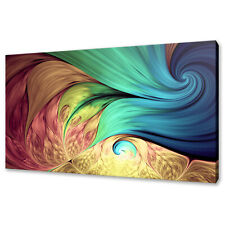 COLOURFUL SWIRLS ABSTRACT FLORAL FRACTAL BOX CANVAS PRINT WALL ART PICTURE