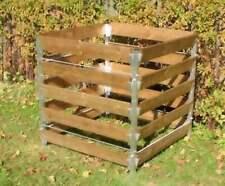 Alu Holz Komposter 90 x 90 x 100 Kompostbehälter Gartenkomposter Aluminium
