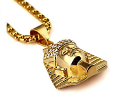 18K Gold Plated Crystal Egyptian Pharaoh King Pendant Necklace