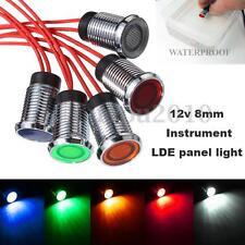 8mm 12V LED Dash Panel Pilot Indicator Instrument Light Signal Lamp Car Vehicle