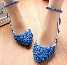 Women Blue Floral Lace Pearl Strappy Flat Sweet Party Gown Wedding Shoes Pump xi