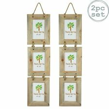 """Wooden Shabby Chic Rustic Driftwood Triple Hanging Photo Picture Frame-4x6"""" x2"""
