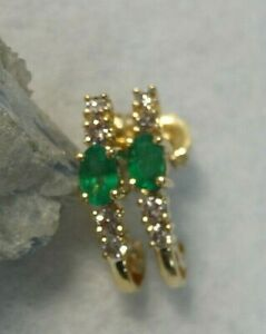 Emerald and Diamond 14k yellow gold Earrings