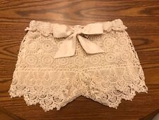 FORCYNTHIA Beachwear Beige Crochet Shorts with Bow - Extra Small - FREE SHIPPING