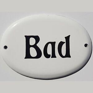 Bad Zimmer Toilette WC Klo Email Emaille Schild Emailschild Schrifttyp 2