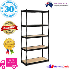 5 Tier Shelving Unit Warehouse Rack Storage Racking Garage Shelf 200kg Black