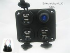 Waterproof Panel 12.6 Amp USB Charger Outlet Socket Power LED Switch Wired 12V