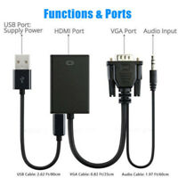 Video Cable Converter Adapter VGA Male To HDMI Output 1080P HD+Audio TV AV HDTV