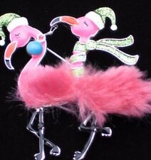 "NWT ISLAND LIFE CHRISTMAS SANTA PINK FLAMINGO BIRD PIN BROOCH JEWELRY DANGLES 3"""