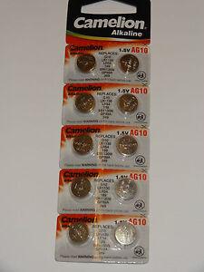 10 Stück Knopfzellen Uhrenbatterien Knopf Zellen Camelion AG10 LR 54 LR 1130 L 1
