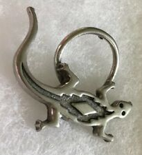Salamander Eyeglass Holder Pin Silver Tone Amphibian Brooch
