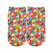 Sublime Designs Adults Fun Printed No Show Socks-Sweet Jelly Beans Candy Foodie