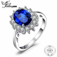 Princess Diana William Created Blue Sapphire Engagement 925 Sterling Silver Ring