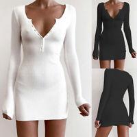 ❤️ Womens Long Sleeve Sweater Dress Ladies Button Sexy V neck Bodycon Mini Dress