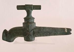 Antik Groß Hahn aus Bronze Für Fass Winzer Patina Grüner Original Xxème