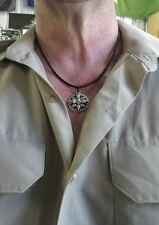 platted leather necklace with skull pendant +two granade zip pulls #26