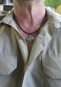 platted leather necklace with skull pendant +two granade zip pulls set  #26